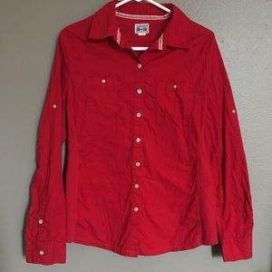 Converse Red Button Down